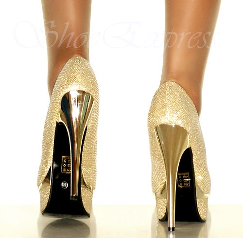 LADIES/ gold shimmer//HIGH HEEL STILETTO/ gold LAYERED PEEP TOE SHOES SIZE 3-7 | Amazing Shoes UK