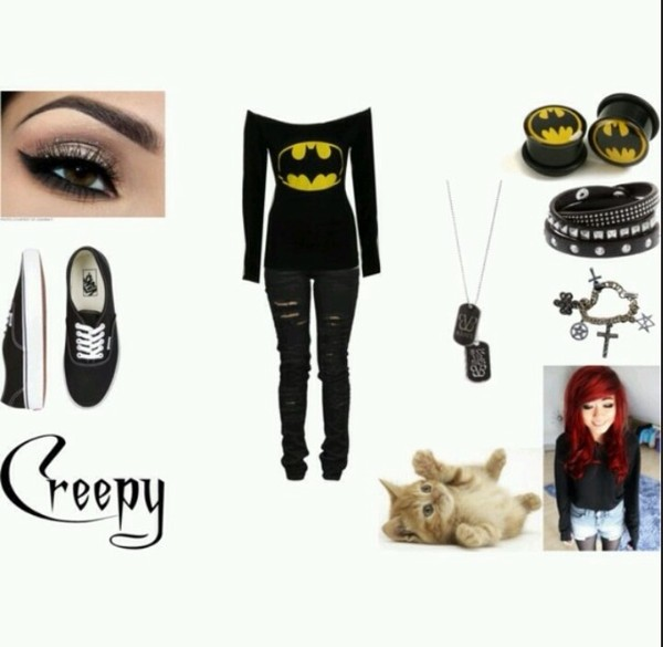 shirt batman emo grunge pants necklace shoes ect jeans jacket belt jewels