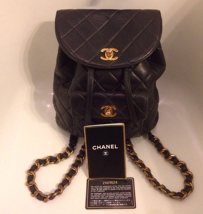 Auth CHANEL Quilted CC Logos Chain Backpack Bag Black Leather Vintage 2469624