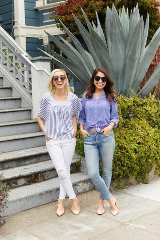 lemon stripes blogger shirt jeans sunglasses skinny jeans spring outfits white jeans