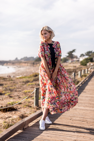 late afternoon blogger dress shoes jewels sneakers midi dress floral dress fall outfits