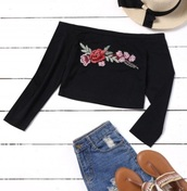 blouse,embroidered,girly,black,off the shoulder,off the shoulder top,long sleeves,crop tops,crop,cropped
