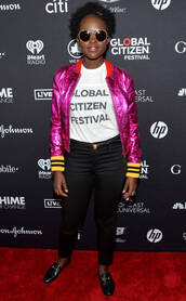 jacket,pink,pants,top,metallic,bomber jacket,lupita nyong'o,t-shirt