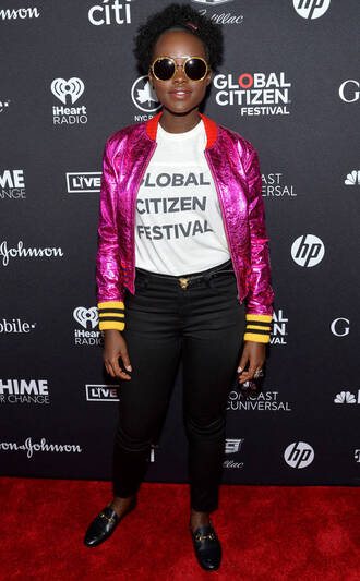 jacket pink pants top metallic bomber jacket lupita nyong'o t-shirt