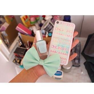 hair accessory bows nail polish phone cover
