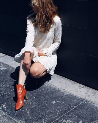 dress tumblr mini dress white dress long sleeves long sleeve dress boots ankle boots brown boots shoes