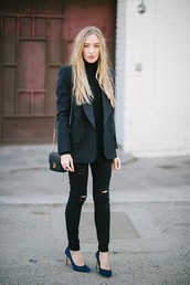 blazer,black jeans,ripped jeans,mini bag,turtleneck,jacket,sweater,jeans,shoes,bag,jewels,mini shoulder bag