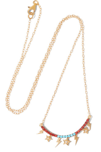 stone necklace necklace gold red jewels