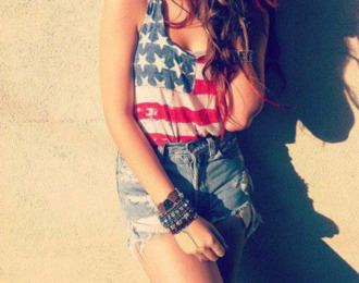 tank top usa shorts denim red white blue cute casual july 4th