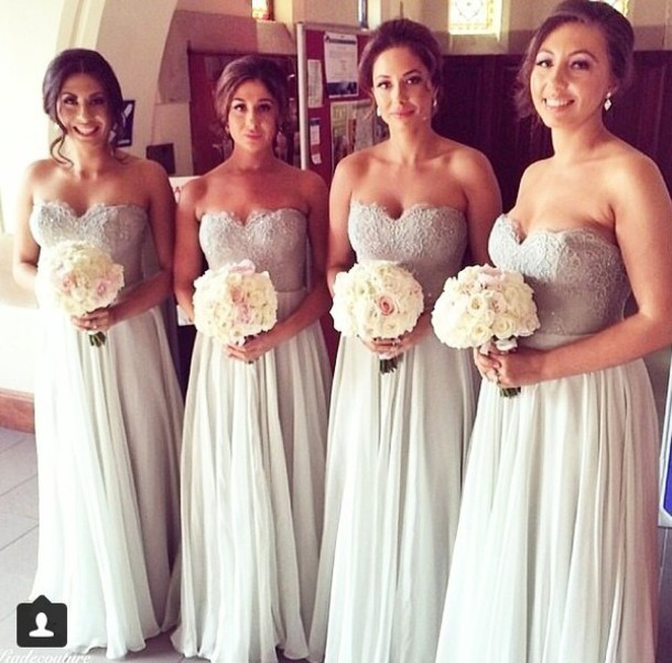 Prom Bridesmaid Dress Light Grey Sweetheart Chiffon Bridem