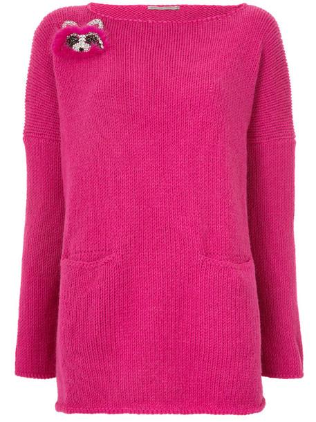 sweater women wool purple pink