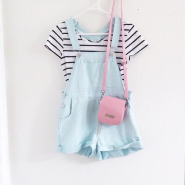 Romper Overalls Pastel Tumblr Kawaii Blue Jumpsuit