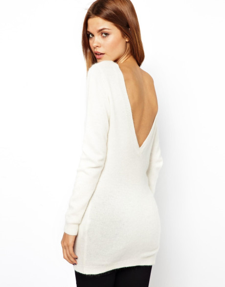 Asos white yas cumulous knit sweater in angora with low v back