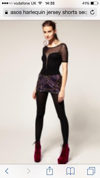 shorts asos asos shorts jersey harlequin print multicoloured hot swim tumblr cute embellishments sequins
