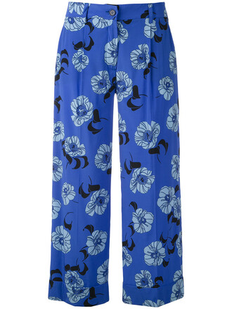 cropped women spandex floral print blue silk pants