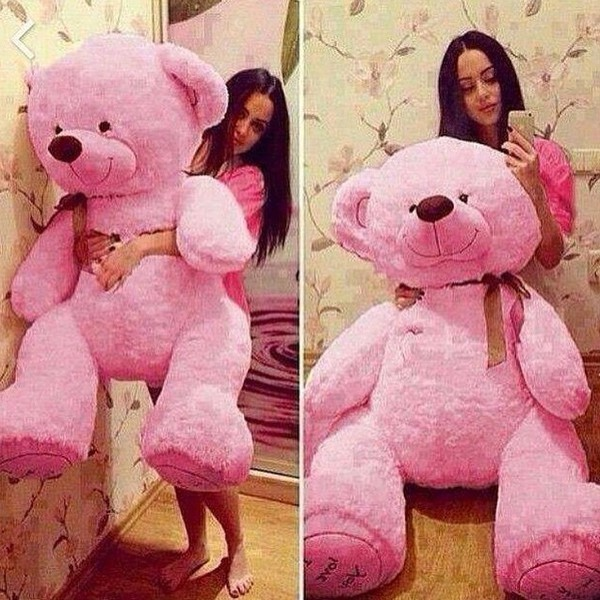 Stuffed Giant 95cm Big Pink Plush Teddy Bear Huge Soft 100 Cotton