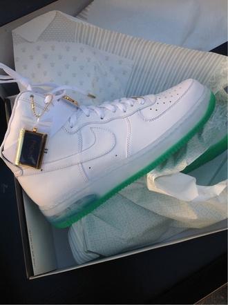 shoes nike shoes high top sneakers nike air force 1 nike green nike air force