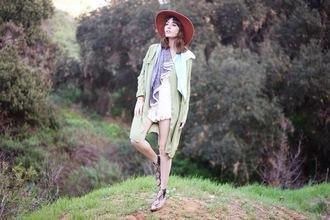 a fashion nerd blogger romper scarf hat folk trench coat skirt jacket shoes jewels