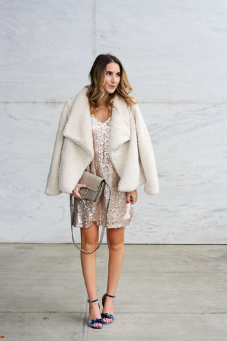 twenties girl style blogger dress shoes jacket bag sequin dress sandals faux fur coat