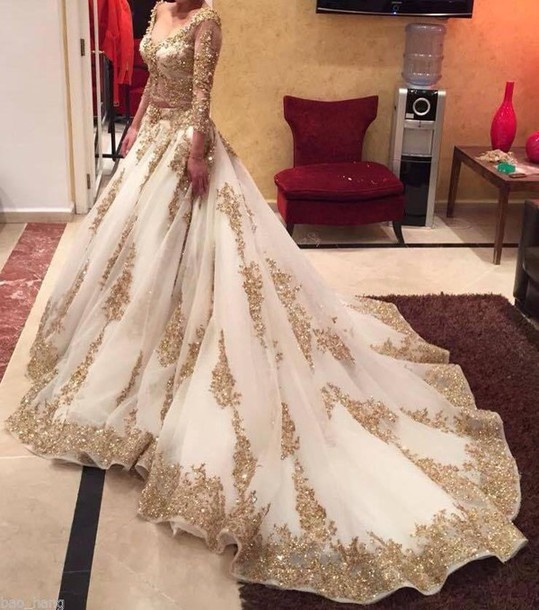 Dress Ccbridal Wedding Gold Dress Arabic Dresses Plus Size