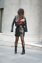 mypeeptoes,blogger,skirt,sweater,shoes,tights,black leather skirt,black leather jacket,zipped skirt,high heels boots,sock boots,tumblr,net tights,fishnet tights,boots,black boots,ankle boots,red top,top,leather jacket,cropped jacket,mini skirt,leather skirt