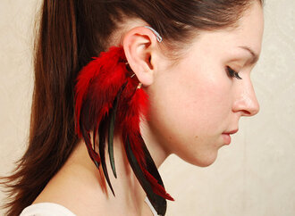 earrings ear cuff feathers cuff jewels