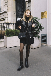 dress,black jacket,tumblr,mini dress,black dress,boots,black boots,biker boots,jacket,leather jacket,black leather jacket,all black everything,bag,black bag,fall outfits