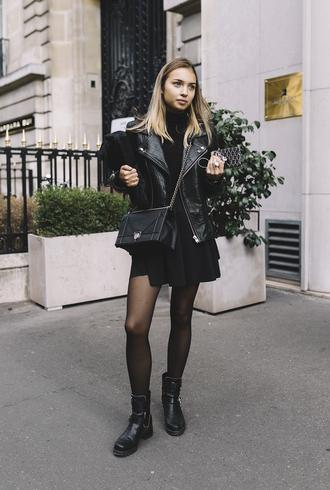 dress black jacket tumblr mini dress black dress boots black boots biker boots jacket leather jacket black leather jacket all black everything bag black bag fall outfits