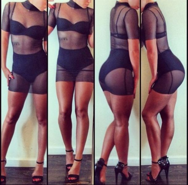 dress see through black spandex short lace