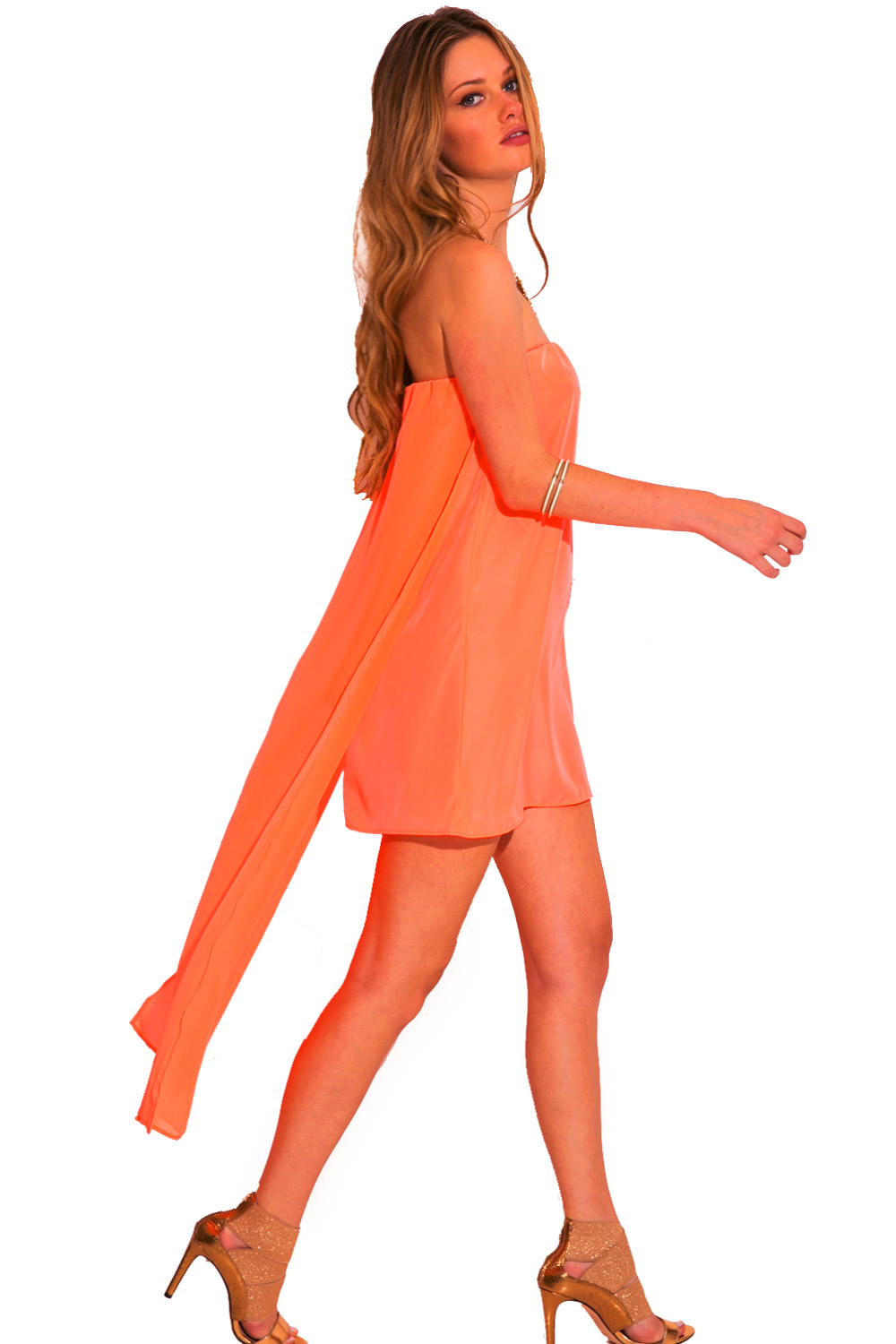 Neon coral orange chiffon cape high low strapless cocktail party mini dress