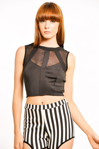 Betty Mesh Panel Crop in Black - Pop Couture