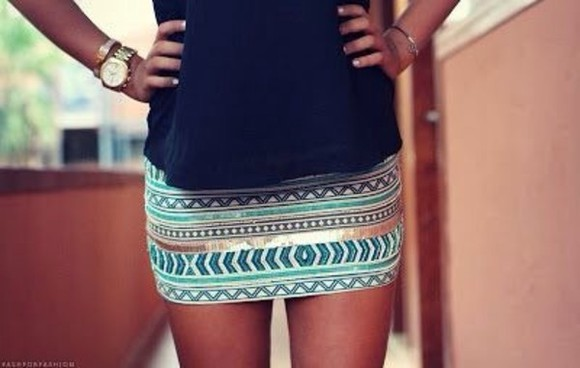 skirt aztec gold short skirt cute skirt blue blue skirt mini skirt tribal pattern black lovely