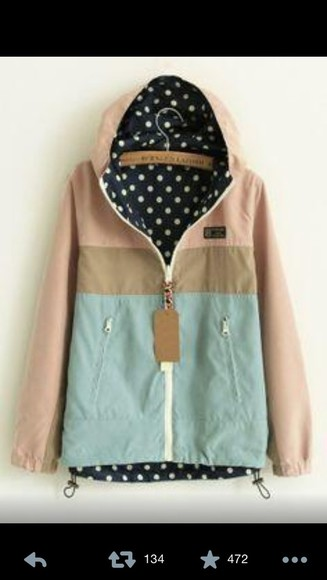 teal jacket coat raincoat tan rain jacket polka dots
