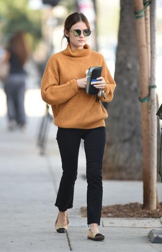 sweater lucy hale fall outfits fall sweater mustard mustard sweater streetstyle flats sunglasses
