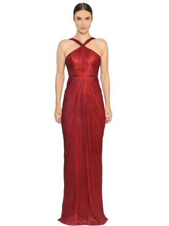 gown metallic silk burgundy dress