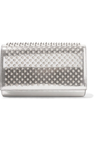 leather clutch metallic clutch silver leather bag
