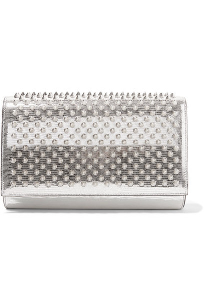 christian louboutin leather clutch metallic clutch silver leather bag