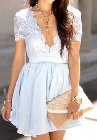 dress blue lace deep plunge flowey skirt
