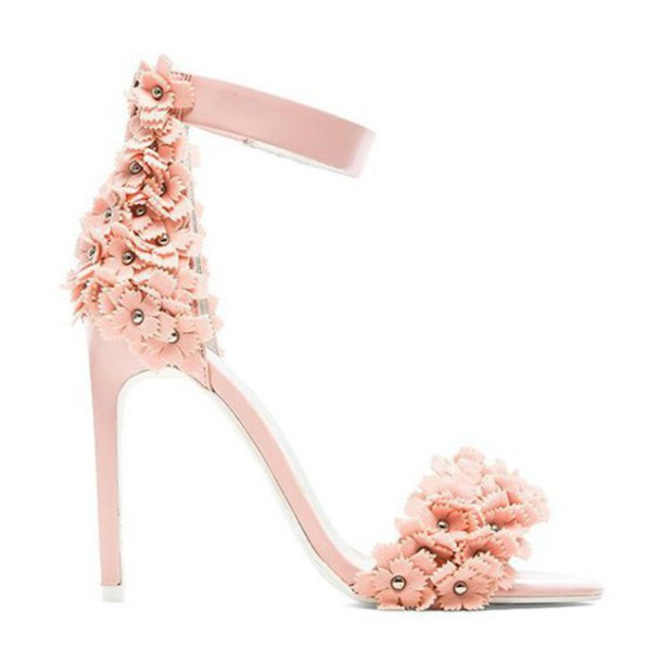Shoes Pink Floral Heels Cherry Blossom Jeffrey Campbell Pink