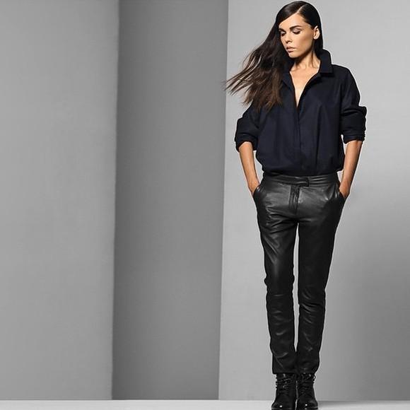 leather pants pants black trousers