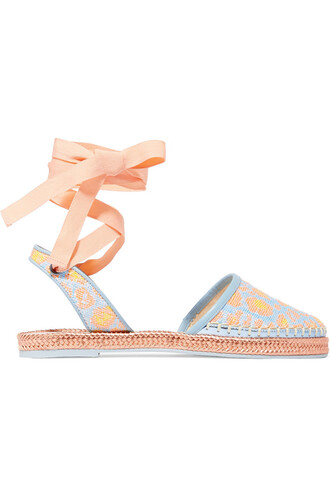 jacquard espadrilles leather turquoise shoes