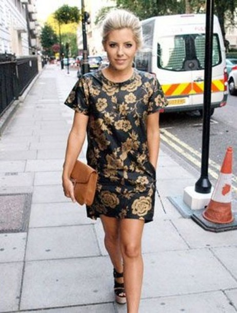 dress baroque gold flowers mollie king floral little black dress