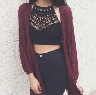 shirt black black shirt crop tops lace lace top cute outfit outfit idea tumblr outfit