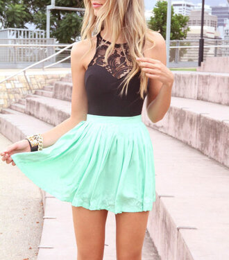 dress shirt black lace top skirt blouse mint high waisted skirt lace top black top mint dress gold chain skater dress skater skirt mint and black black dress lace dress short cute cute dress pretty tank top and skirt bodysuit mesh insert lace inserts