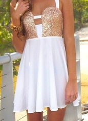 dress,clothes,prom dress,white,cute,gold,cute dress,sparkly dress,sparkle,homecoming,homecoming dress,short dress,white and gold dress,gold and white dress,blouse,short,summer,sequins,gold squins,gold and white,elegant,gold!white,cut-out,white and gold short dress,gold sequins,white dress,short white as gold dress,white with gold sparkles,straps,gorgeous,gold and white dress from pinterest,tight,glitter,white and gold,gold dress,style,strappy,serena van der woodsen,sequin dress