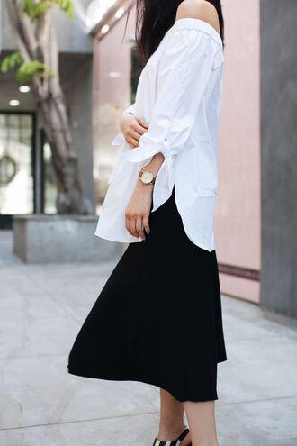 blouse skirt tumblr white blouse top white top off the shoulder off the shoulder top midi skirt black skirt black and white