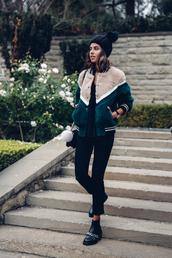 shoes,bag,viva luxury,blogger,pants,hat,furry bomber jacket