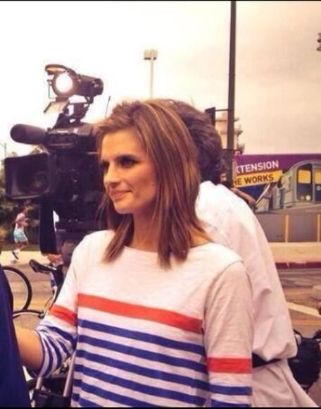 t-shirt tv show stana katic blue shirt stylish fashion