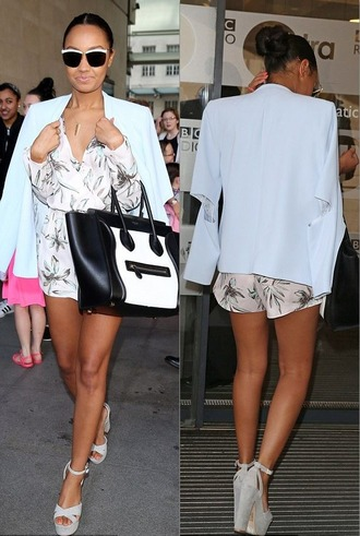 romper blazer jacket platform shoes platform sandals leigh-anne pinnock sandals shoes