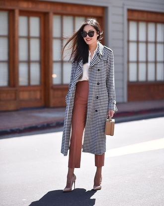 coat pants cropped pants shirt white shirt pumps heels sunglasses spring outfits work outfits